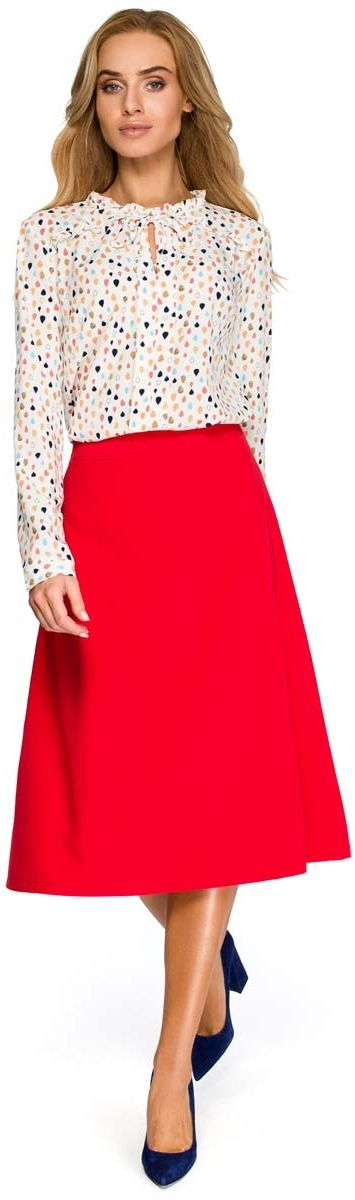 Czerwona klasyczna trapezowa spódnica midi