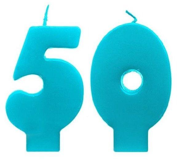 Świeczki urodzinowe 50 turkusowe scw50-083