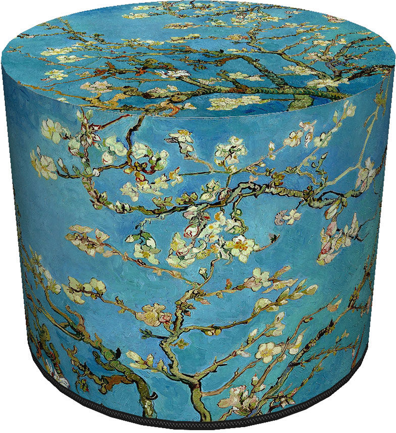 Okrągła tapicerowana niebieska pufa z drzewkiem - Matilda