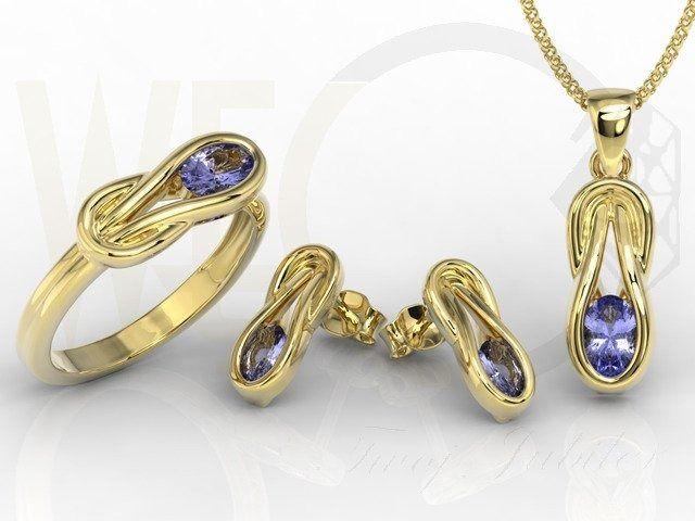 Zestaw: pierścionek, kolczyki i wisiorek z żółtego złota z tanzanitami bp-69z-zestaw