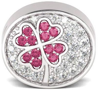 Rodowany srebrny charms do pandora czterolistna koniczynka szczęścia lucky cyrkonie srebro 925 NEW187