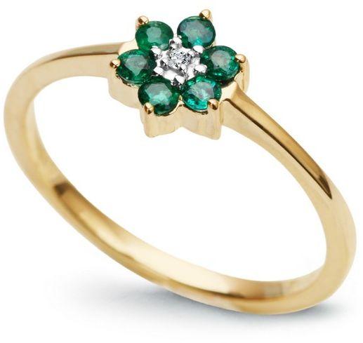 Staviori pierścionek. 1 diament, szlif brylantowy, masa 0,005 ct., barwa h, czystość i1. 6 szmaragdów, masa 0,18 ct.. żółte złoto 0,585. średnica korony ok. 7 mm.
