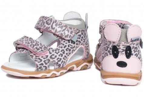Bartek Baby 71144-BBK wysokie sandałki sandały dla dzieci - różowa panterka z myszką na zapiętku
