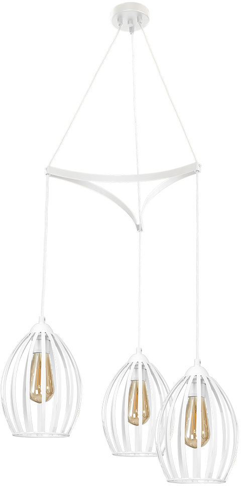 Milagro RUSSEL WHITE MLP4737 lampa wisząca regulacja wysokości biała metalowe pręty 3xE27 80cm