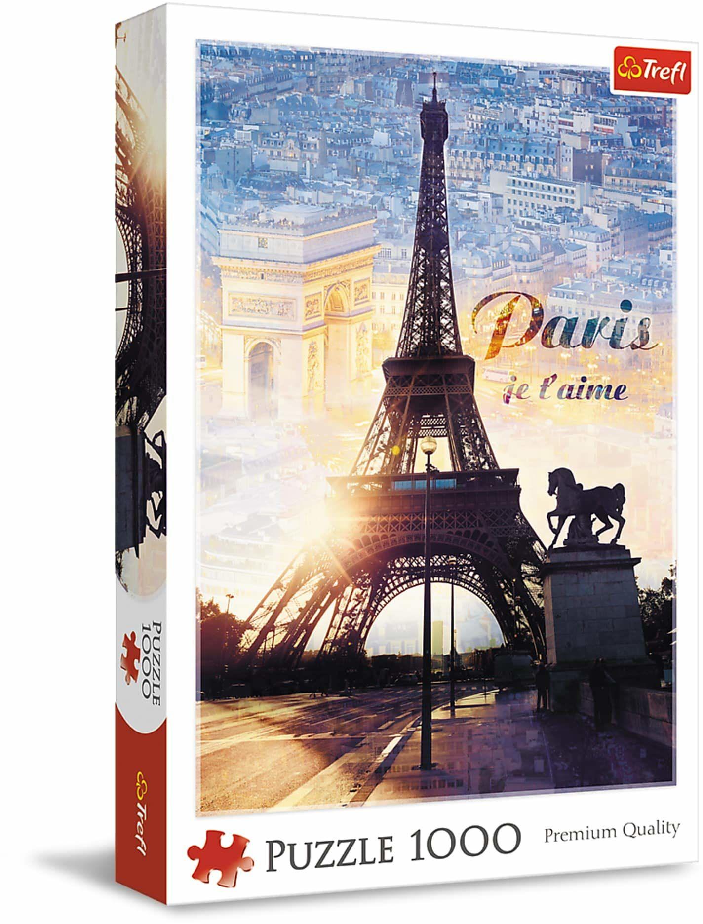 Trefl - Puzzle Paryż o Świcie - 1000 Elementów, Francja, Stolice Europy, Widok na Wieżę Eiffla, Łuk Triumfalny, Układanka DIY, Kreatywna Rozrywka, Prezent, Puzzle dla Dorosłych i Dzieci od 12 Lat