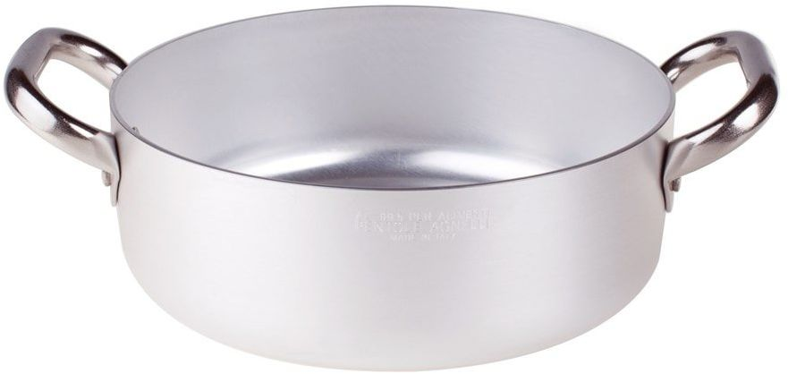 Pentole Agnelli Linia aluminiowa 3 mm płaski rondel z 2 uchwytami 18 cm srebrny/czarny