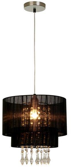Lampa wisząca Leta RLD93350-1B Zuma Line czarna oprawa w kryształowym stylu