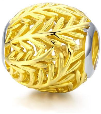 Pozłacany srebrny charms do pandora ażurowe gałązki listki leafs srebro 925 NEW112
