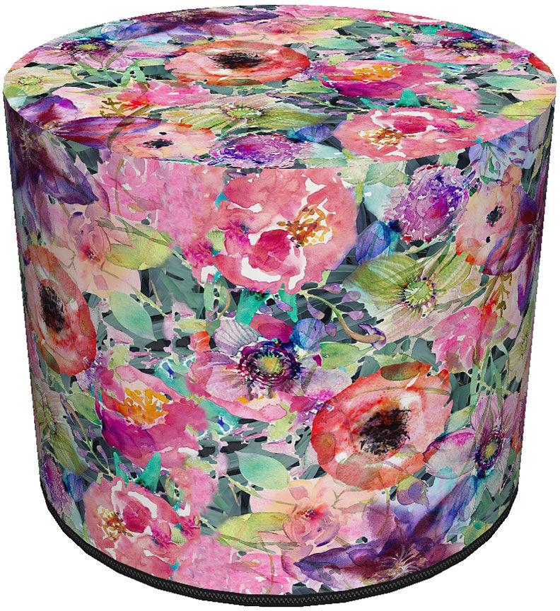 Okrągła tapicerowana wielobarwna pufa w kwiaty - Matilda