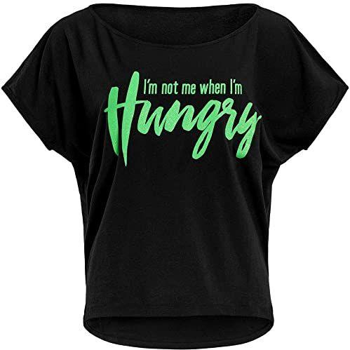 """WINSHAPE Damska koszulka z motywem Winshape Damen Ultra Leichtes Modal-kurzarmshirt Mct002 Mit Neon Grünem""""i Am Not Me When I Am Hungry"""" Glitzer-aufdruck T-shirt Schwarz-neon-grün-Glitter L"""
