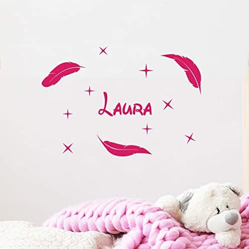 Spersonalizowana naklejka z imieniem, samoprzylepna, możliwość personalizacji, do pokoju dziecięcego, 2 arkusze o wymiarach 10 x 15 cm i 40 x 25 cm, fuksja