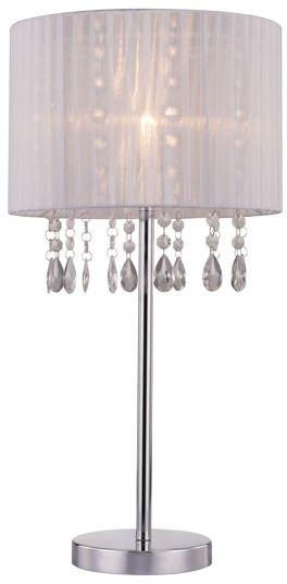 Lampa stołowa Leta RLT93350-1A Zuma Line biała oprawa w kryształowym stylu