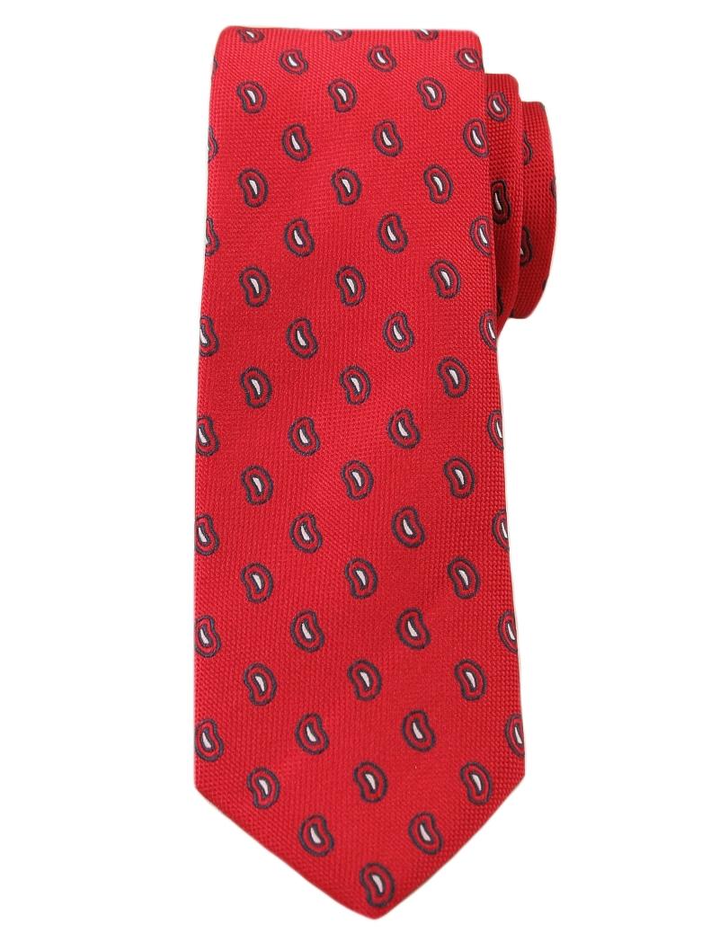 Wyrazisty Krawat Męski w Modny Wzór Paisley -6cm- Angelo di Monti, Czerwony KRADM1211