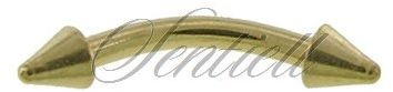 Stalowy (316L) kolczyk banan z grotem do brwi - złoty