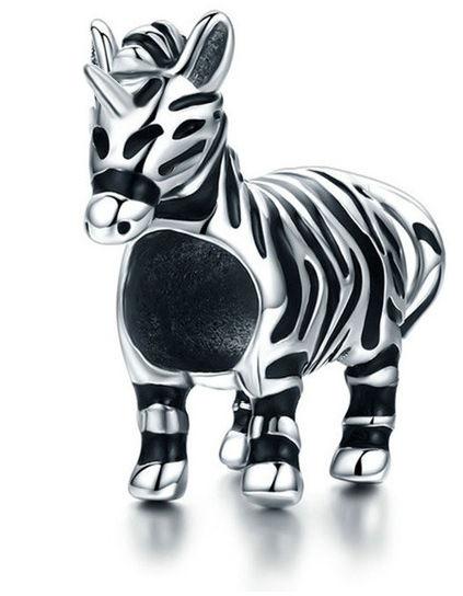 Rodowany srebrny charms do pandora zebra jednorożec unicorn srebro 925 NEW111