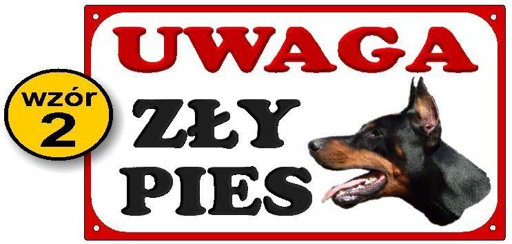 Tabliczka Uwaga zły pies - z dobermanem