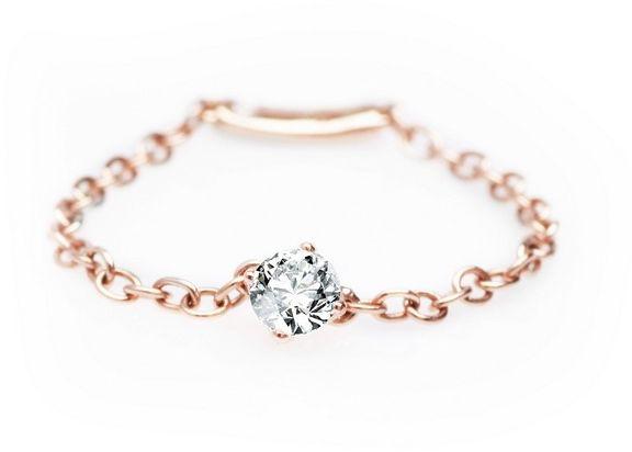 Staviori pierścionek złoty łańcuszek. 1 diament, szlif brylantowy, masa 0,13 ct., barwa g, czystość si1. 1 diament, szlif brylantowy, masa 0,01 ct., barwa g, czystość si1. różowe złoto 0,750.