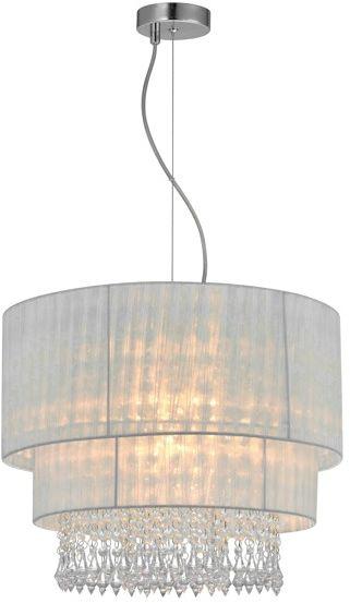 Lampa wisząca Leta RLD93350-L1W Zuma Line biała oprawa w kryształowym stylu