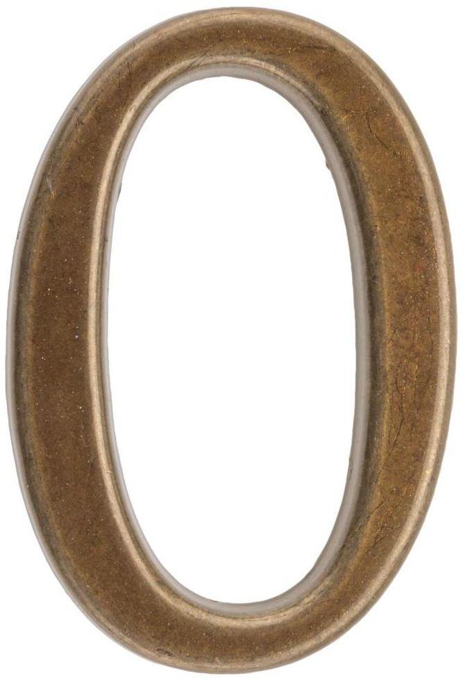 Cyfra 0 wys. 5 cm metalowa brązowa