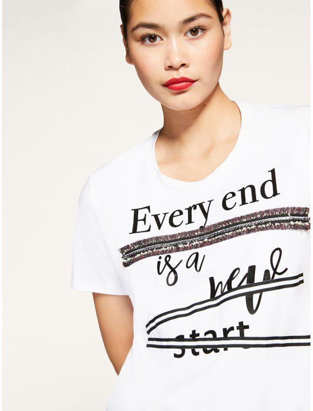 Persona by Marina Rinaldi T-Shirt Vago 1971040 Biały Regular Fit