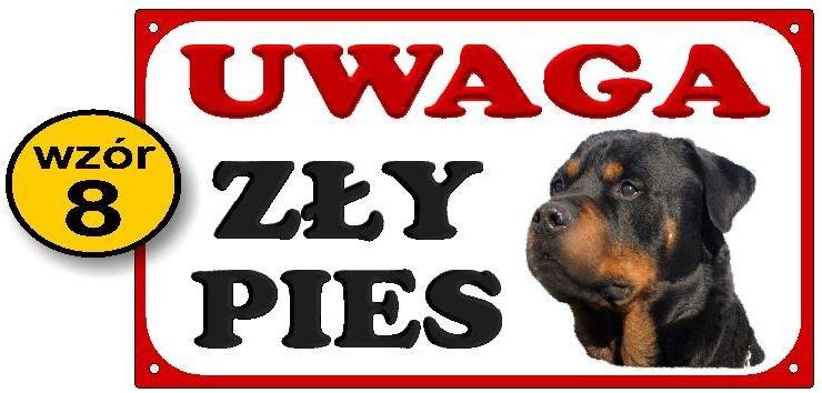 Tabliczka Uwaga zły pies - z rotwailerem