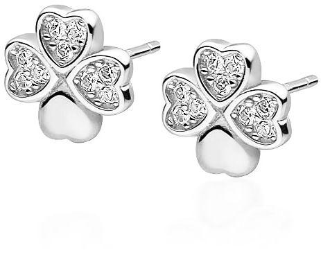 Eleganckie rodowane srebrne kolczyki koniczynki lucky cyrkonie srebro 925 Z1725E