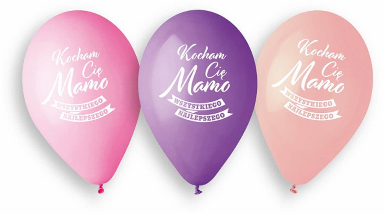 Balony lateksowe z nadrukiem Kocham Cię Mamo - 33 cm - 5 szt.