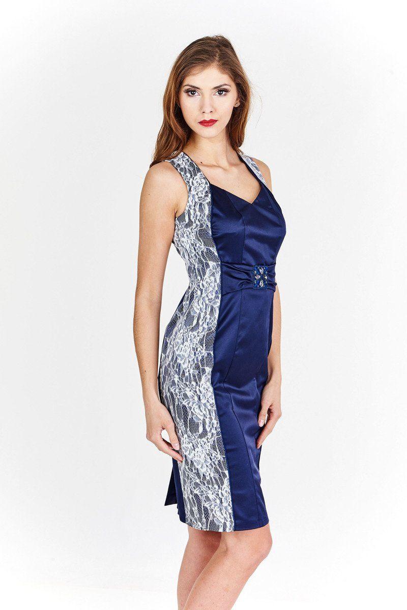 Sukienka FSU901 CHABROWY CIEMNY + BIAŁY