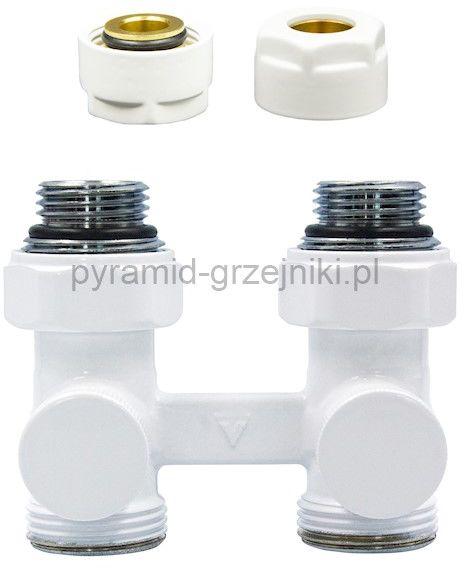 Zawór odcinający prosty Premium Elegancki ze złączką PEX/CU - biały CU - instalacja miedziana