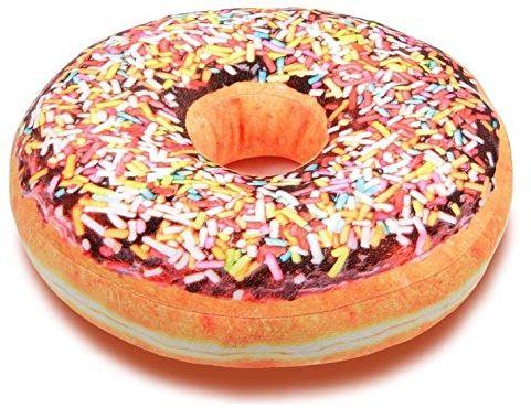 Donut Doughnut poduszka z brązową czekoladą glazurą i kolorowymi posypywankami Ø 40,0 cm