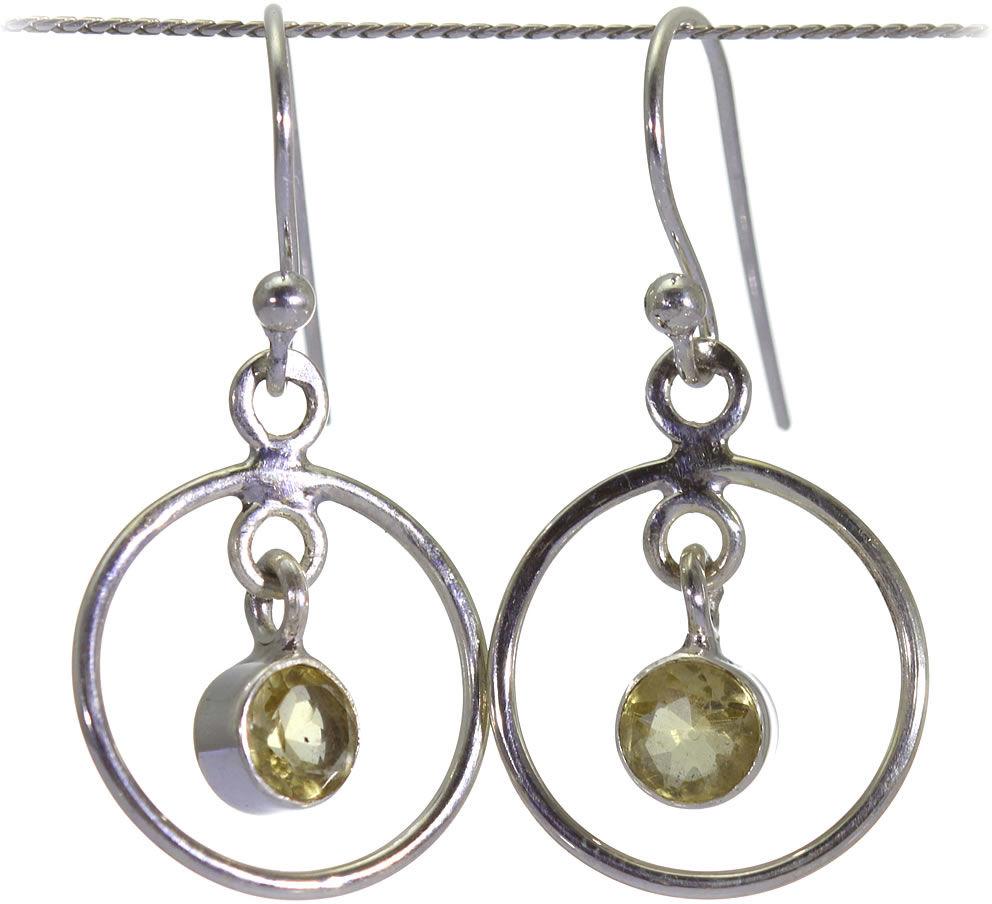 Kuźnia Srebra - Kolczyki srebrne, 31mm, Cytryn, 3g, model