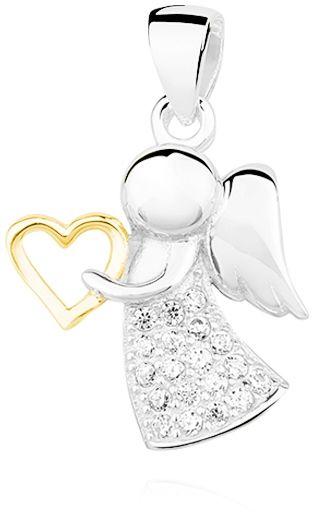 Rodowany srebrny wisior wisiorek anioł aniołek angel cyrkonia białe cyrkonie srebro 925 Z1303CGR