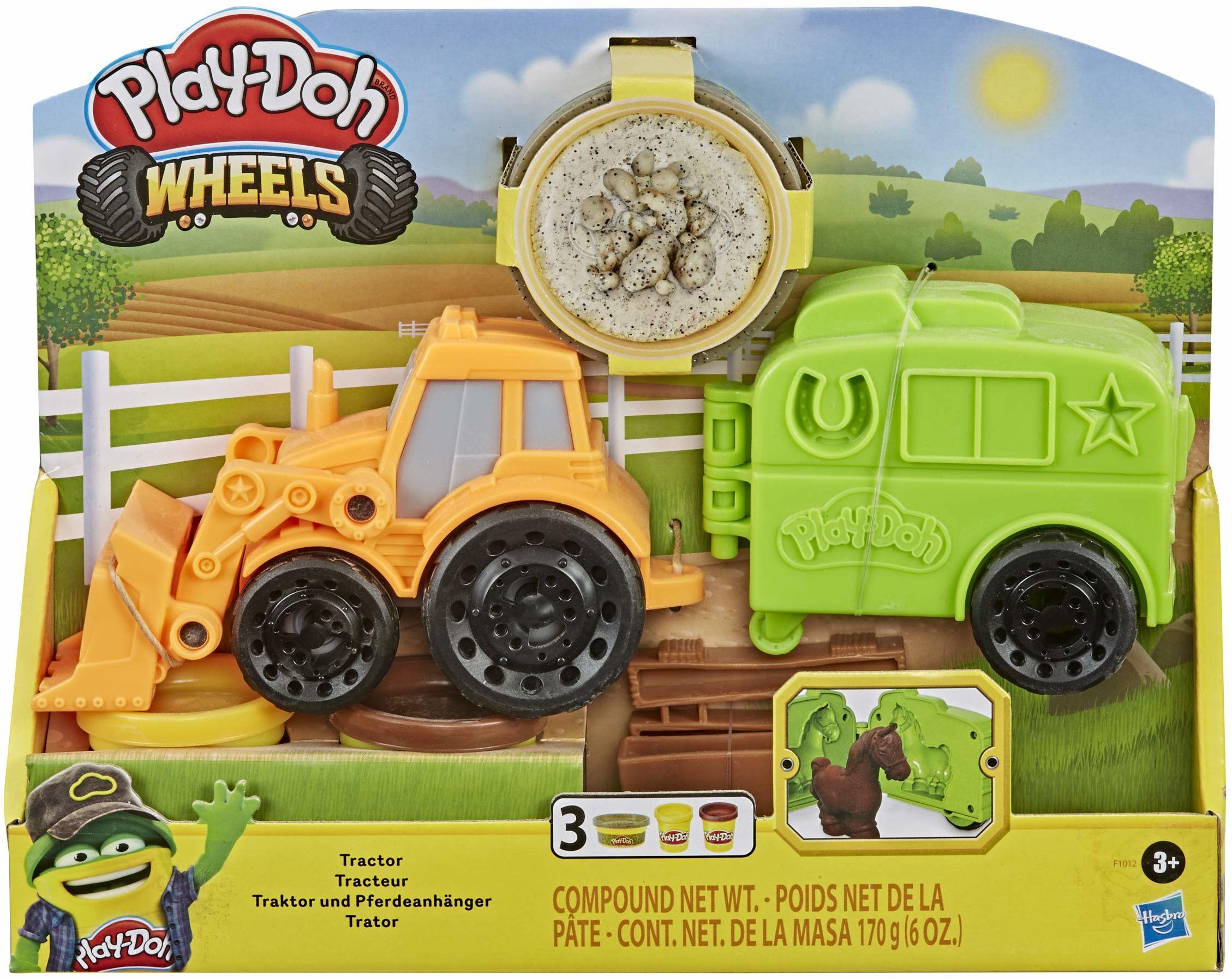 Traktor Play-Doh Wheels z foremką w kształcie przyczepy dla koni i 3 tubamii z nietoksyczną masą plastyczną, zabawka dla dzieci w wieku od 3 lat