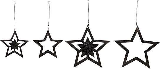 Dekoracje choinkowe stars gwiazdy czarne metalowe 4 szt.