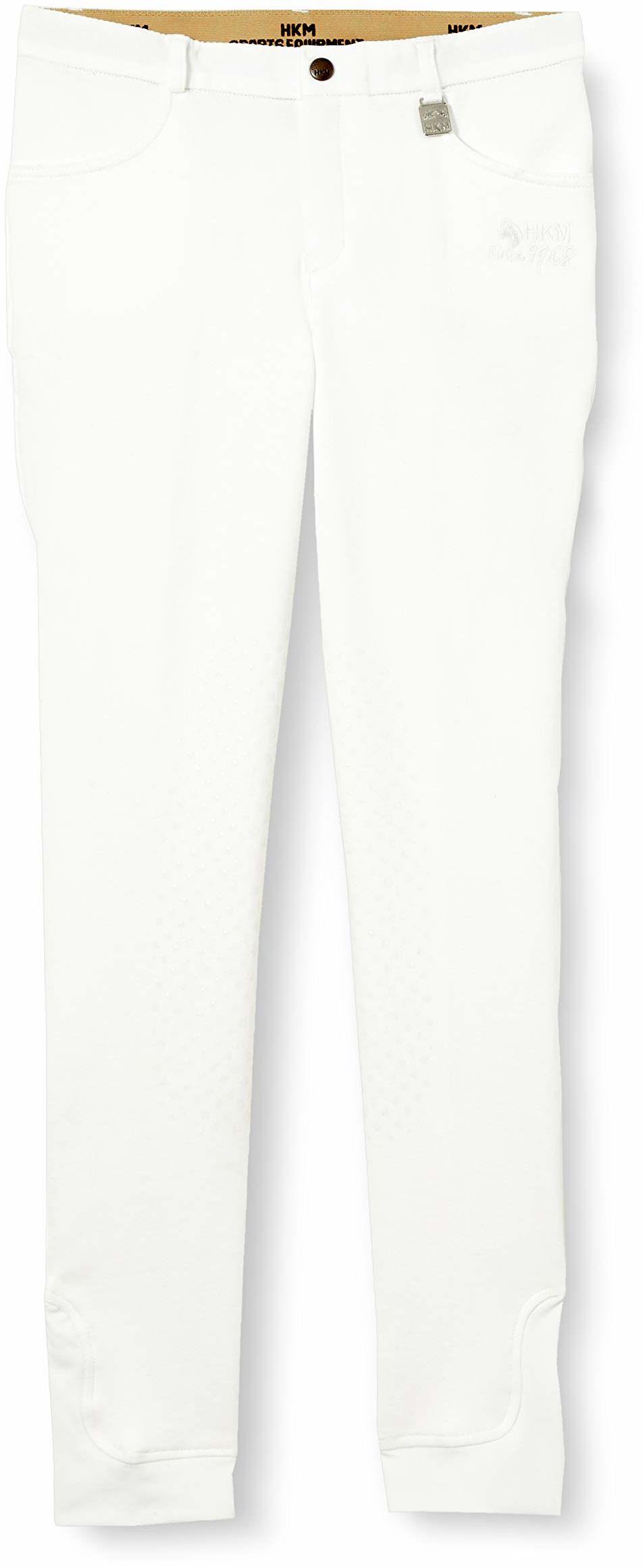 HKM Unisex spodnie jeździeckie -Kids Additional Easy - silikonowe obszycie kolan 1200 beżowy 1200 Weiß 176