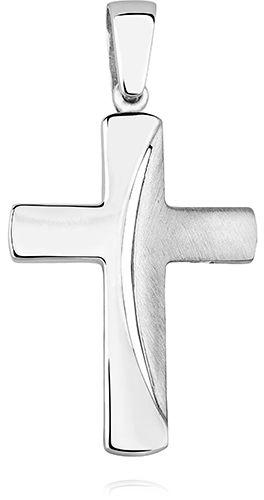 Elegancki rodowany srebrny polerowany satynowany gładki krzyżyk krzyż srebro 925 KS0169