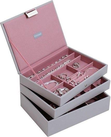 Szkatułka na biżuterię stackers potrójna classic różowo-szara