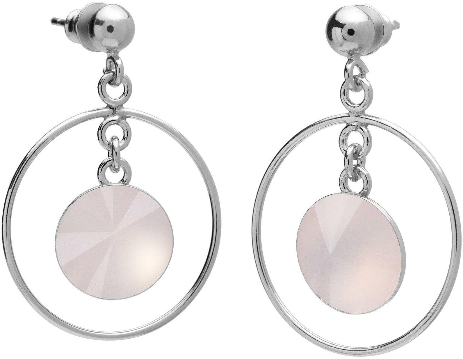 Okrągłe kolczyki z kwarcem, srebro 925 : Kamienie naturalne - kolor - kwarc różowy jasny, Srebro - kolor pokrycia - Pokrycie platyną