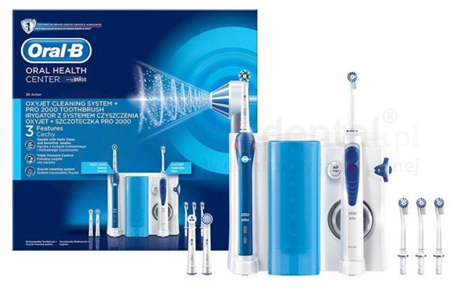BRAUN Oral-B Oral Health Center - OxyJet + PRO 2000 - zestaw szczoteczka elektryczna z irygatorem do zębów