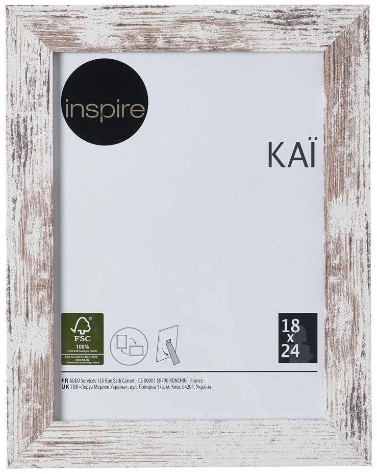 Ramka na zdjęcia Kai 18 x 24 cm biała shabby MDF Inspire