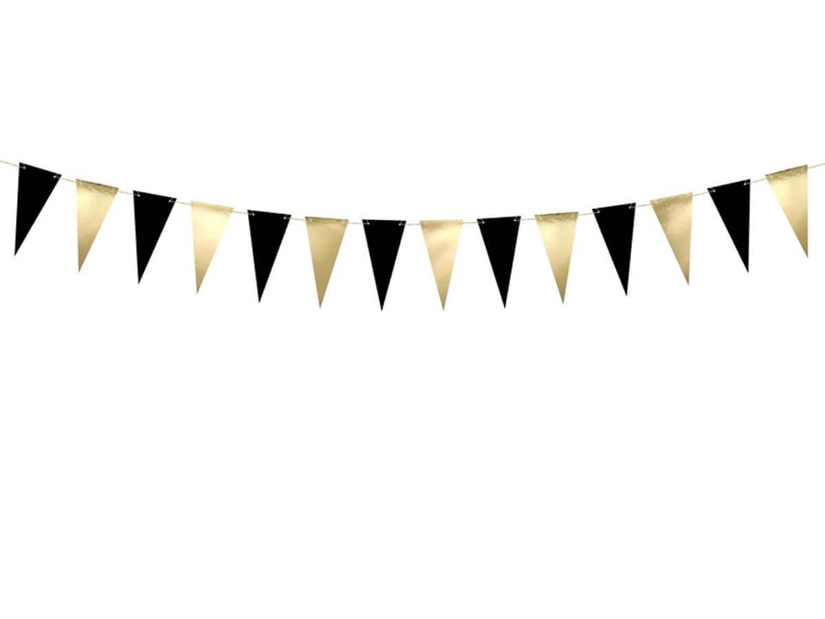 Girlanda baner flagietki czarne i złote - 215 cm - 1 szt.