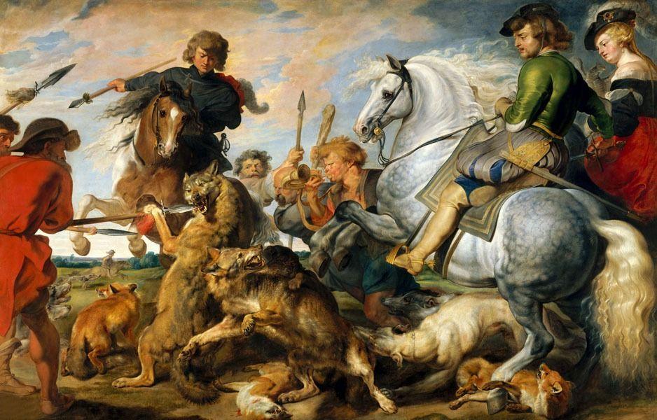 Wolf and fox hunt, rubens - plakat wymiar do wyboru: 70x50 cm