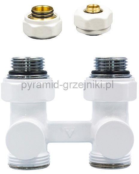 Zawór odcinający prosty Premium Elegancki ze złączką PEX/CU - biały PEX - alu-pex