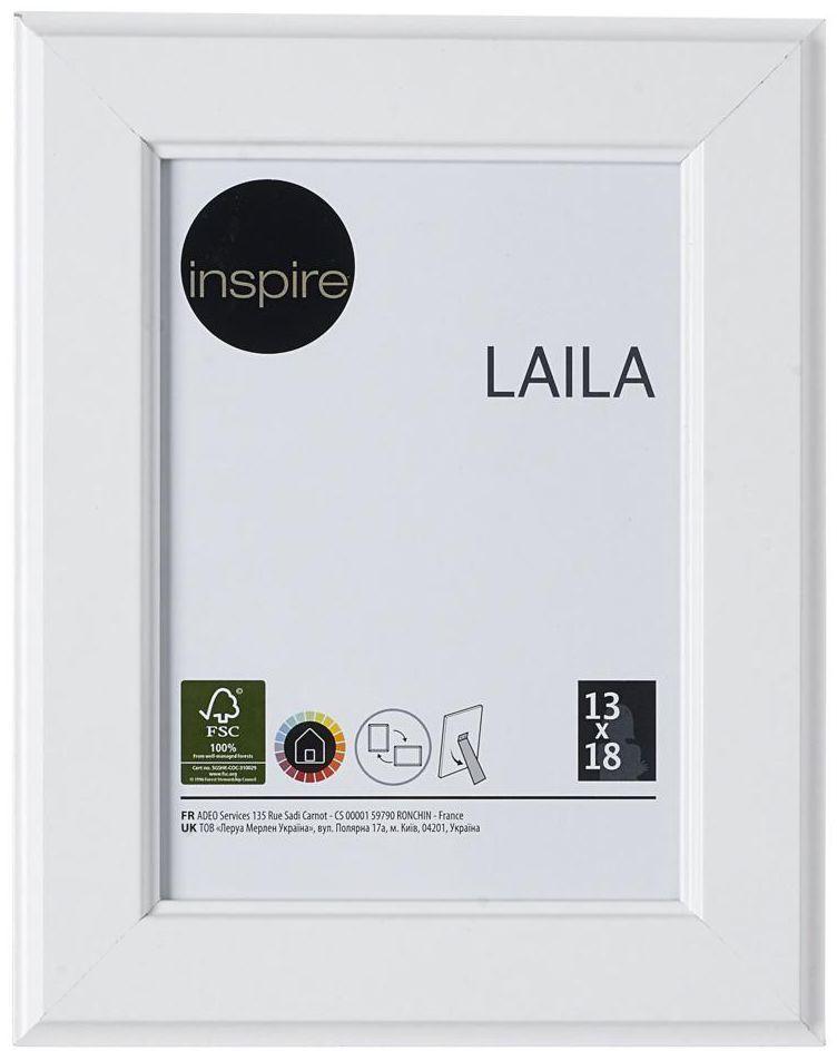 Ramka na zdjęcia Laila 13 x 18 cm biała MDF Inspire