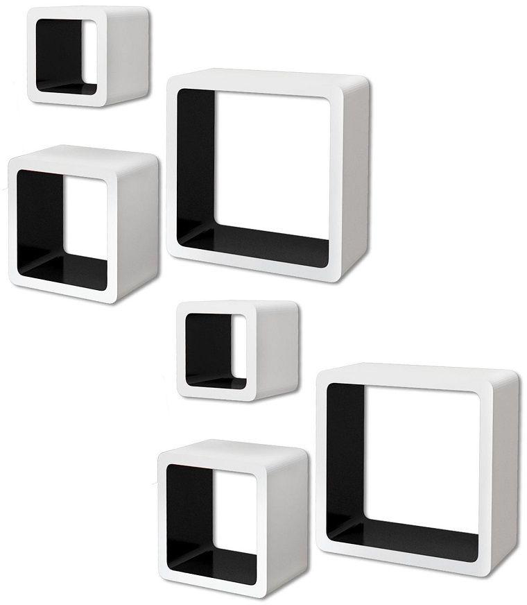 Zestaw biało-czarnych półek ściennych - Luca 3X