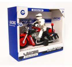 Motor z motocyklistą z sygnałem i światłem, w pud. 27cm