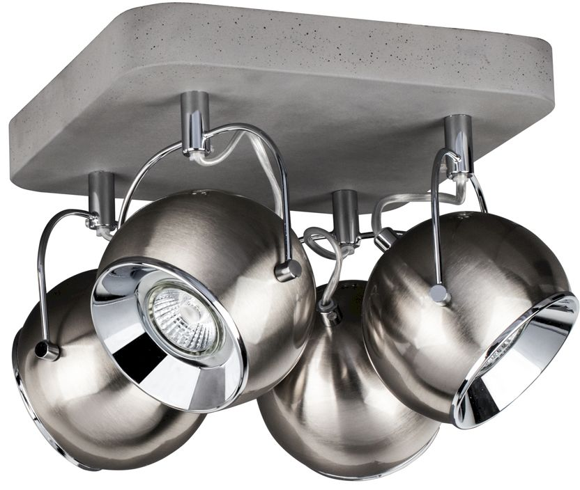 Spot Light 5131436 Ball Concrete plafon lampa sufitowa beton/ klosz metal satyna/chrom 4xLED GU10 6W IP20 26cm