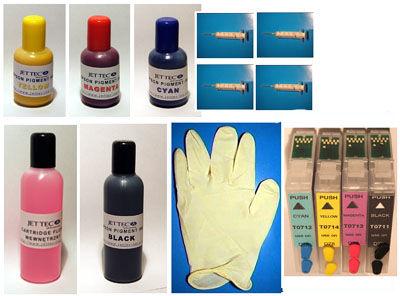 Zestaw zamienny kartridże wieczne, napełnialne T1281-4 + 100ml czarnego +3x50ml kolor pigment+akc