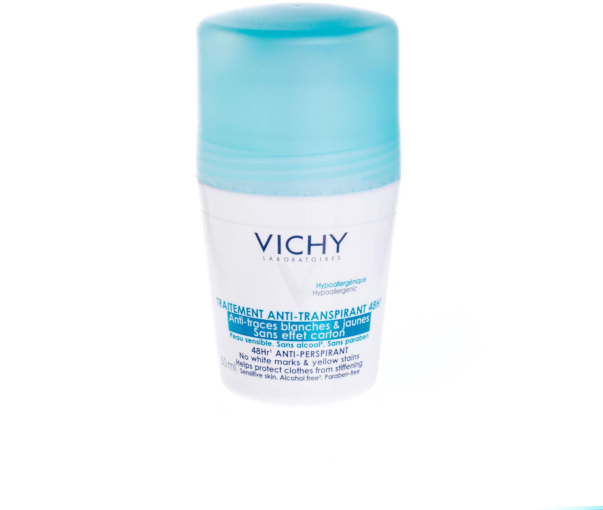 Vichy Deodorant antyperspirant roll-on przeciwko białym i żółtym śladom 50 ml + do każdego zamówienia upominek.