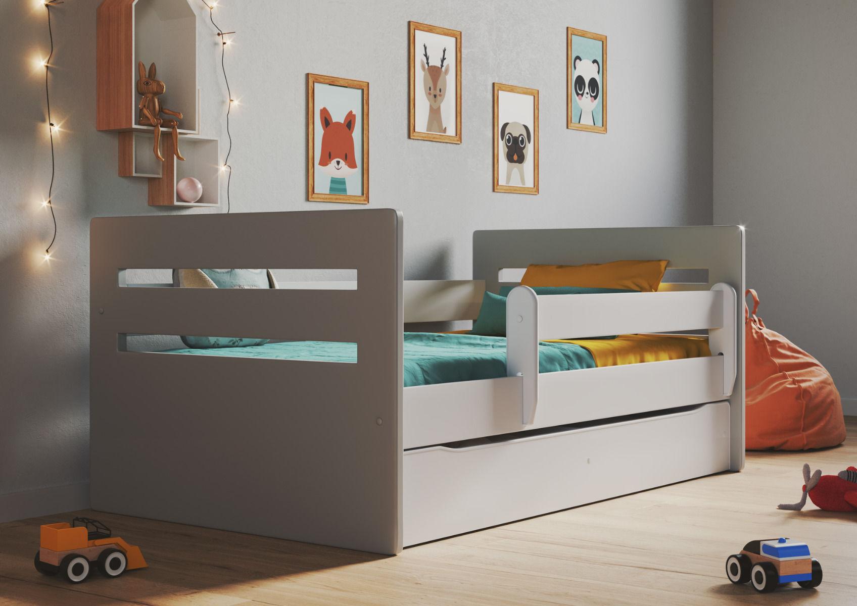 Łóżko dziecięce TOMI MIX 160x80 białe/szare z barierką i szufladą  KUP TERAZ - OTRZYMAJ RABAT